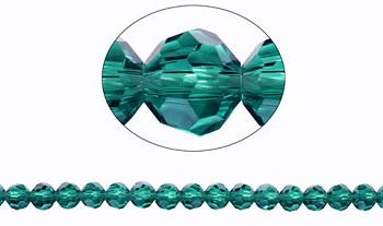6mm Round Crystal Beads, DARK AQUA TEAL