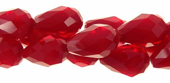 Crystal Beads, Teardrop 15x10mm RED JADE CORE