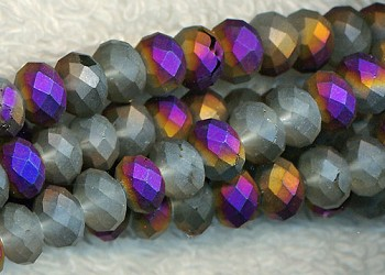 6mm Rondelle Crystal Beads, MATTE Half PURPLE RAINBOW SHIMMER