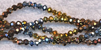 3mm Round Crystal Beads Strand, GOLD SILVER and COPPER