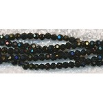 3mm Round Crystal Beads, BLACK