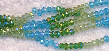 3mm Rondelle Crystal Beads, SPRING MIX