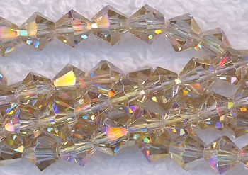 Crystal Beads, 6mm Bicone LIGHT TOPAZ