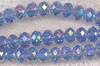 8mm Rondelle Crystal Beads, LIGHT SAPPHIRE BLUE AB