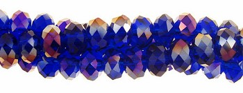 6mm Rondelle Crystal Beads, SAPPHIRE AB