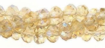 4mm Rondelle Crystal Beads, LIGHT TOPAZ AB