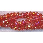 Crystal Rondelle Beads Strand, 3x4mm, SIAM RED AB