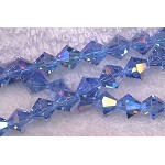8mm Crystal Bicone Beads Strand, LIGHT SAPPHIRE BLUE AB