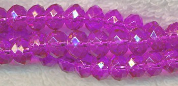8mm Rondelle Crystal Beads, HOT PINK
