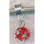 Red Crystal Drop Large Hole Bead Set