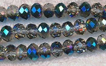 8mm  MYSTIC TOPAZ TEAL Rondelle Crystal Beads