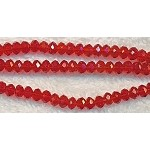 4mm Rondelle Crystal Beads, RED