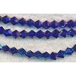 6mm Crystal Bicone Beads Strand, DARK SAPPHIRE BLUE AB