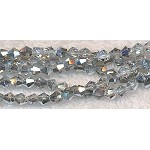 4mm Crystal Bicone Beads Half Metallic SILVER Strand