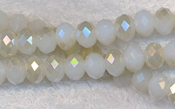 8mm Rondelle Crystal Beads, IVORY Half AB