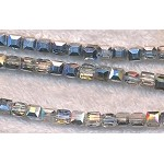 Chinese Crystal 4mm Cube Beads, Metallic Half Silver Coat, 10pc