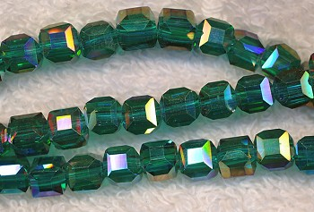 6mm Cube EMERALD AB Crystal Beads