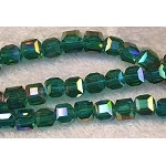 Chinese Crystal 6mm Cube Beads, Emerald AB, 10pc