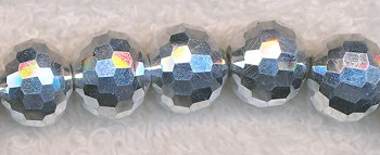 12mm Round Crystal Beads, BRIGHT SILVER Disco Ball Beads