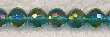 10mm Micro Faceted Round Crystal Beads Strand, GREEN TEAL AB Disco Ball Style