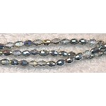 Rice Crystal Beads, SILVER 5x3mm Faceted Olivary