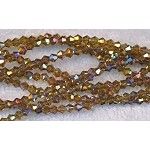 4mm Crystal Bicone Beads TOPAZ AB Strand