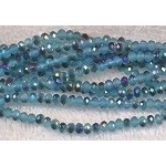 4mm Rondelle Crystal Beads, TURQUOISE BLUE METALLIC BLUE