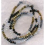 4mm Crystal Rondelle Beads Strand, DESIGNER MIX Crystal, Metallic Silver, Metallic Gold, and Jet Black