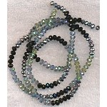 4mm Rondelle Crystal Beads, DESIGNER MIX Indian Sapphire Blue Coat, Teal Coat, Metallic Silver, and Jet Black