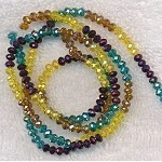 4mm Rondelle Crystal Beads, DESIGNER MIX Topaz, Citrine Yellow, Metallic Purple, and Blue Topaz