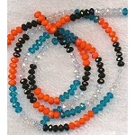 4mm Rondelle Crystal Beads, DESIGNER MIX Aquamarine Blue, Crystal, Jet Black, and Orange