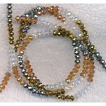 4mm Rondelle Crystal Beads, DESIGNER MIX Topaz, Crystal, Metallic Gold, and Metallic Silver