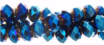 6mm Rondelle Crystal Beads, METALLIC BLUE