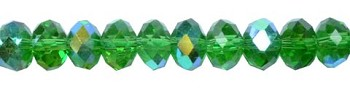 4mm Rondelle Crystal Beads, LIGHT EMERALD GREEN AB