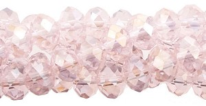 3x4mm Crystal Rondelle Beads Strand, LIGHT ROSE AB