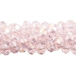 4mm Crystal Rondelle Beads Strand, LIGHT ROSE AB