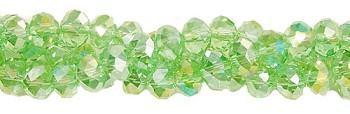 8mm Rondelle Crystal Beads, Green PERIDOT AB Crystal Beads