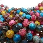 Mixed Color Fire Agate Beads, 8mm Faceted Round, Half Strand Loose