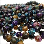 Mixed Color Fire Agate Beads, 8mm Faceted Round, Half Strand Loose Beads