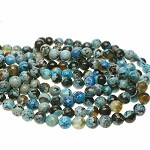 8mm Faceted Round Blue Fire Agate Beads