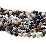 8mm Faceted Round Ivory Creme Brulee Fire Agate Beads