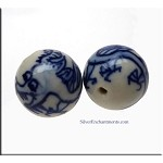 Porcelain Dragon Beads, Large 21mm