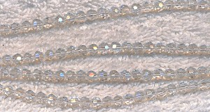 4mm Faceted Round Glass Beads, CRYSTAL, Strand, CLEARANCE