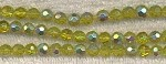 PERIDOT VITRAIL Half Silver Coat Glass Beads, 6mm Faceted Round, Strand, CLEARANCE