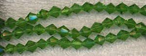 Glass Beads, GREEN 6mm Bicone Beads Strand, CLEARANCE