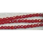 6mm RED Faceted Round Glass Beads