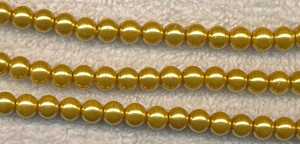 Golden Yellow Glass Pearls, 4mm Glass Pearl Beads