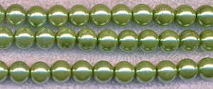 Chartreuse Lime Green Glass Pearls, 8mm Round Glass Pearl Beads
