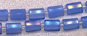 Faceted Rectangle Fancy Blue Glass Beads, 14x10mm Strand, CLEARANCE