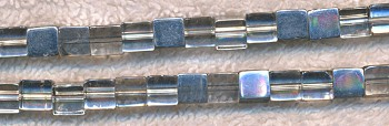 Glass Beads, 6mm Cube Half Silver Coat